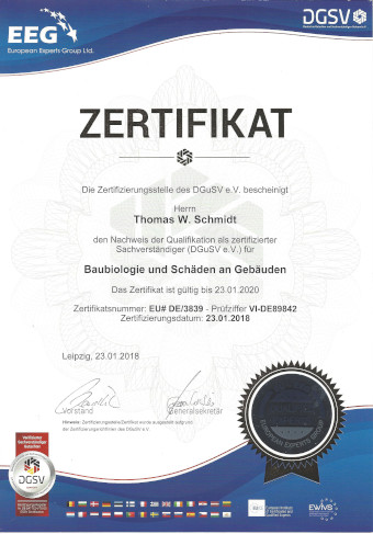 Zertifikat: Baubiologie und Schäden an Gebäuden